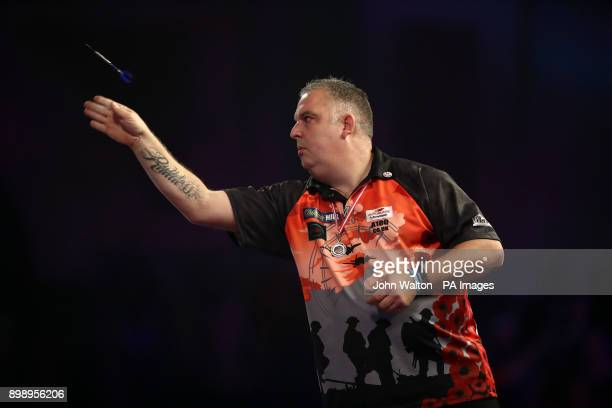 James Richardson during his match against Alan Norris during day eleven of the William Hill World Darts Championship at Alexandra Palace London
