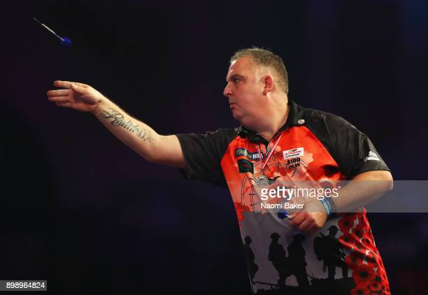 James Richardson of England in action during his second round match against Alan Norris of Scotland on day eleven of the 2018 William Hill PDC World...