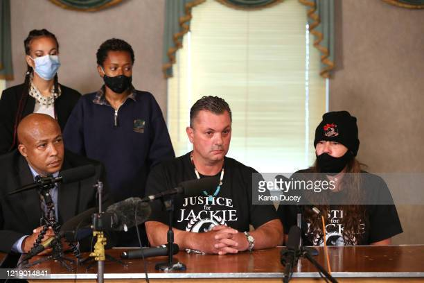 James Rideout and his sister Lisa Earl appear at a press conference with lawyer James Bible and family and friends of Manuel Ellis at the Emerald...