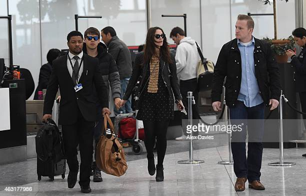James Righton and Keira Knightley are seen leaving Heathrow Airport on February 10 2015 in London England