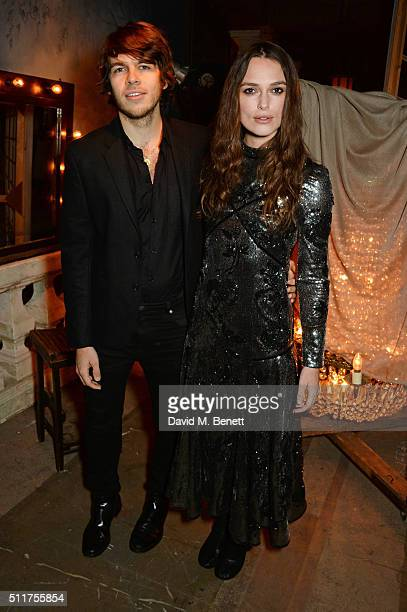 James Righton and Keira Knightley attend the Erdem x Selfridges LFW Afterpary at the Old Selfridges Hotel on February 22 2016 in London England