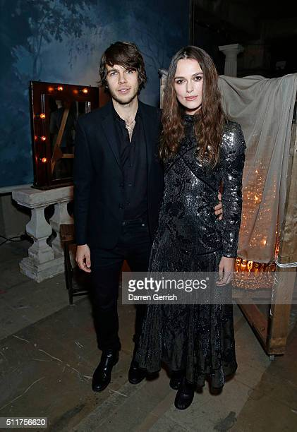 James Righton and Keira Knightley attend the Erdem x Selfridges Wrap Party during London Fashion Week Autumn/Winter 2016/17 at on February 22 2016 in...
