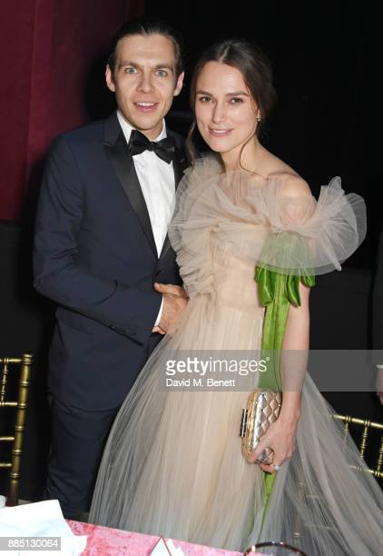 James Righton and Keira Knightley attend the London Evening Standard Theatre Awards 2017 after party at the Theatre Royal Drury Lane on December 3...