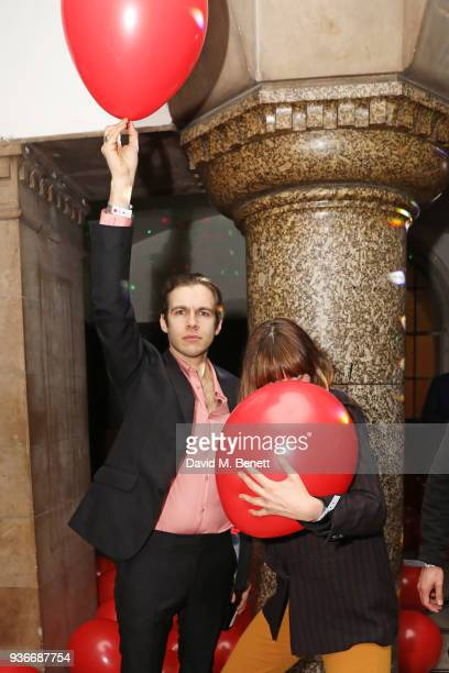 James Righton and Martine Lervik attend the SelfPortrait store opening afterparty at Central St Martins on March 22 2018 in London England