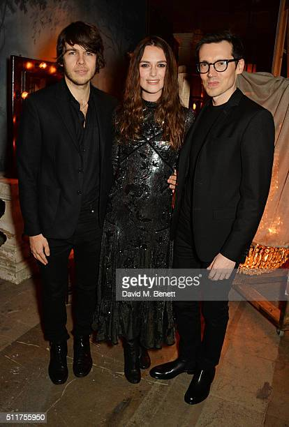 James Righton Keira Knightley and Erdem Moralioglu attend the Erdem x Selfridges LFW Afterpary at the Old Selfridges Hotel on February 22 2016 in...