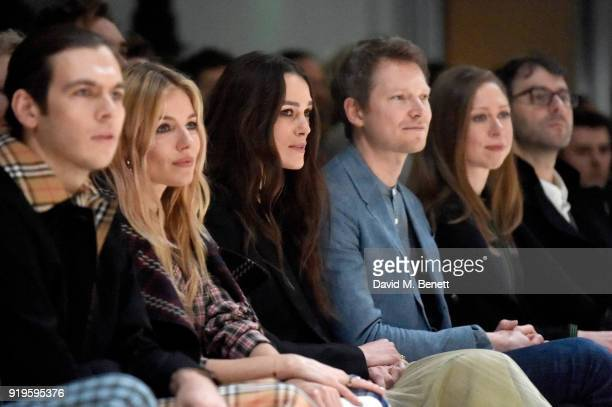 James Righton Sienna Miller Keira Knightley Simon Woods Chelsea Clinton and Marc Mezvinsky wearing Burberry at the Burberry February 2018 show during...