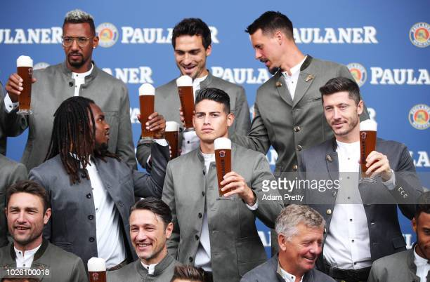 James Robert Lewandowski and Renato Sanches of FC Bayern Muenchen pose for a picture during the FC Bayern Muenchen And Paulaner Photo Session on...