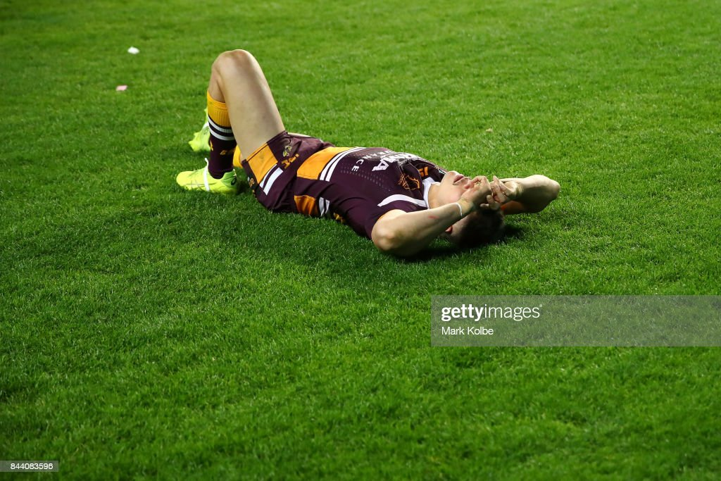 James Roberts of the Broncos looks dejected after defeat during the NRL Qualifying Final match between the Sydney Roosters and the Brisbane Broncos at Allianz Stadium on September 8, 2017 in Sydney, Australia.