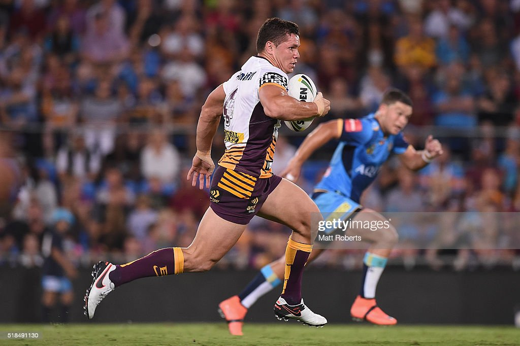 James Roberts of the Broncos makes a break during the round five NRL match between the Gold Coast Titans and the Brisbane Broncos at Cbus Super Stadium on April 1, 2016 in Gold Coast, Australia.