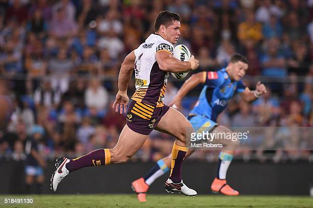 James Roberts of the Broncos makes a break during the round five NRL match between the Gold Coast Titans and the Brisbane Broncos at Cbus Super...