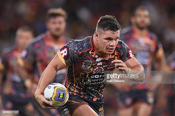 James Roberts of the Indigenous All Stars runs with the ball during the NRL match between the Indigenous AllStars and the World AllStars at Suncorp...