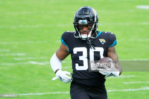 James Robinson of the Jacksonville Jaguars warms up prior to their game against the Cleveland Browns at TIAA Bank Field on November 29, 2020 in...