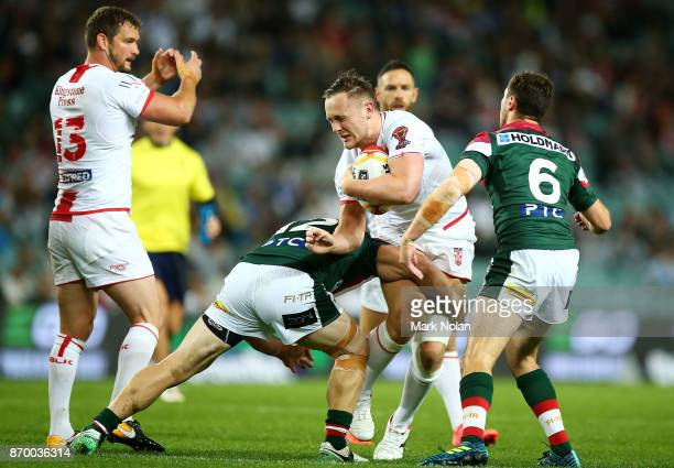 James Roby of England is tackled during the 2017 Rugby League World Cup match between England and Lebanon at Allianz Stadium on November 4 2017 in...