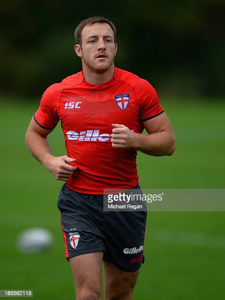 James Roby of England looks on during the England training session ahead of the Rugby League World Cup on October 22 2013 in Loughborough England