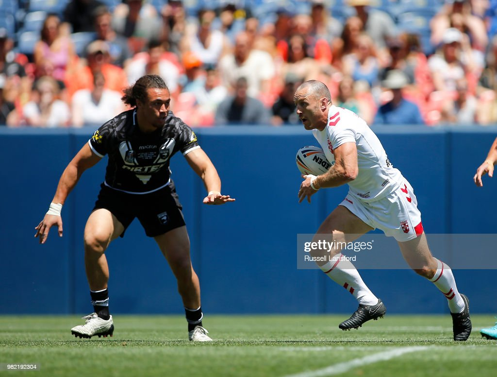 James Roby of England runs up field during the first half of a Rugby League Test Match between England and the New Zealand Kiwis at Sports Authority Field at Mile High on June 23, 2018 in Denver, Colorado.