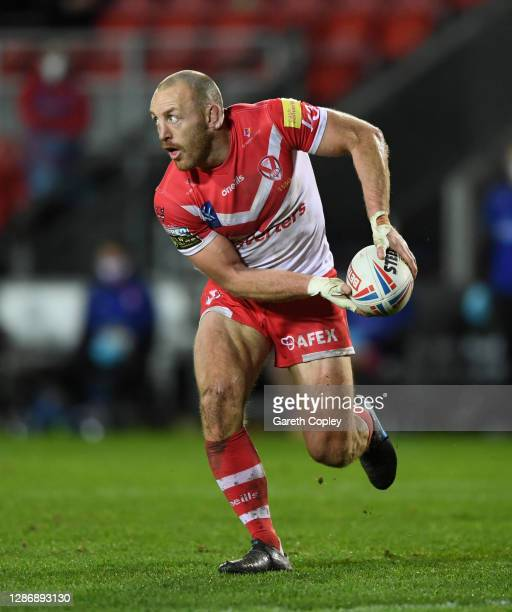 James Roby of St Helens during the Betfred Super League Play-Off Semi-Final between St Helens and Catalans Dragons at Totally Wicked Stadium on...