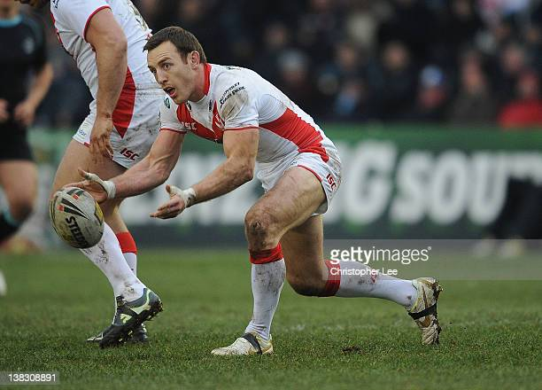 James Roby of St Helens in action during the Stobart Super League match between London Broncos and St Helens at Twickenham Stoop on February 4 2012...