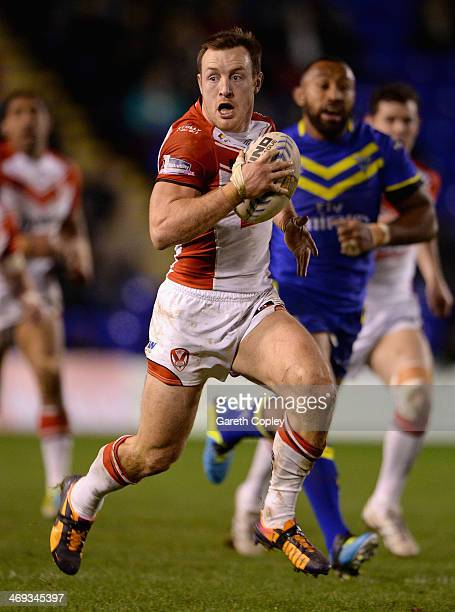 James Roby of St Helens in action during the Super League match between Warrington Wolves and St Helens at The Halliwell Jones Stadium on February 13...