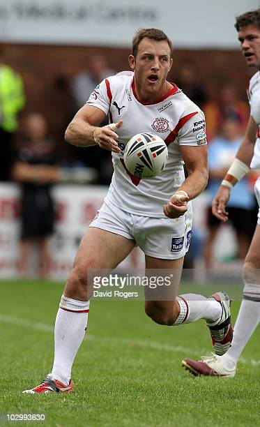 James Roby of St Helens passes the ball during the Engage Super League match between St Helens and Harlequins RL at Knowsley Road on July 18 2010 in...