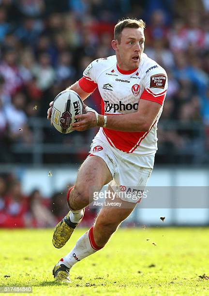 James Roby of St Helens runs with the ball during the First Utility Super League match between St Helens and Wigan Warriors at Langtree Park on March...