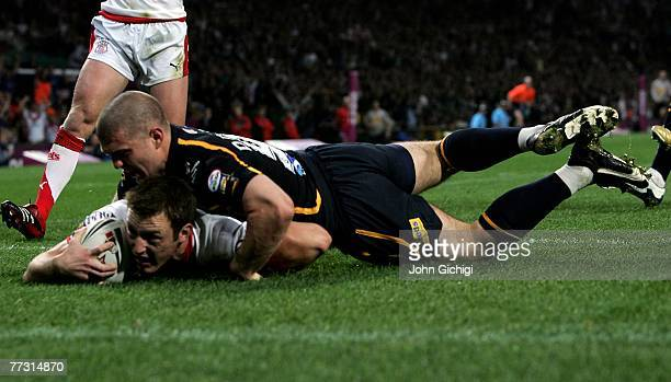 James Roby of StHelens scores a try during the engage Super League Grand Final between St Helens and Leeds Rhinos at Old Trafford on October 13 2007...