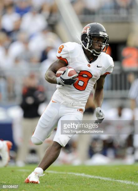 James Rodgers of the Oregon State Beavers runs with the ball against the Penn State Nittany Lions at Beaver Stadium on September 6 2008 in State...