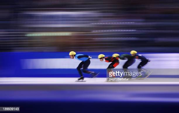 James Rodowsky of USA Tianyu Han of China Alexander Bubnov of Russia and Pierre Boda of Australia compete in the Mens 1000 Meters on day three of the...
