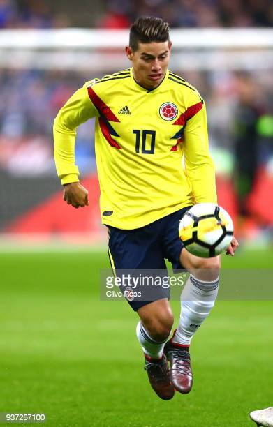 James Rodríguez in action during the International friendly match between France and Columbia at Stade de France on March 23 2018 in Paris France