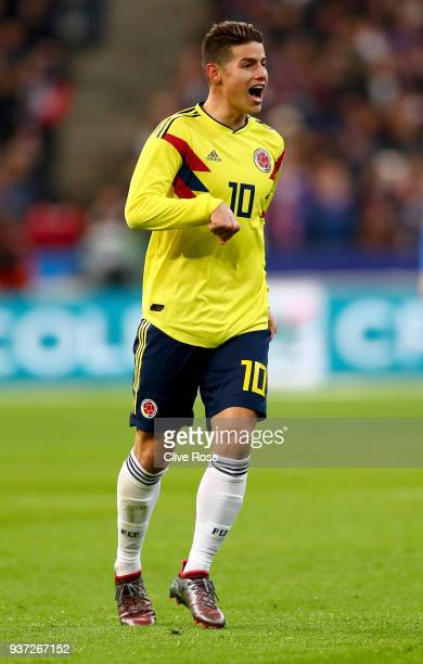 James Rodríguez looks on during the International friendly match between France and Columbia at Stade de France on March 23 2018 in Paris France