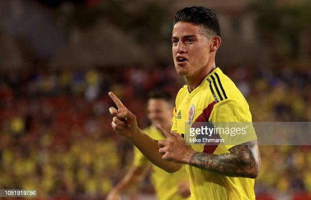 James Rodr'guez of Colombia celebrates a goal during an International Friendly against the Unites States at Raymond James Stadium on October 11 2018...