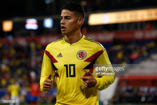 James Rodríguez of Colombia jogs to the corner against Costa Rica during their match at Red Bull Arena on October 16 2018 in Harrison New Jersey
