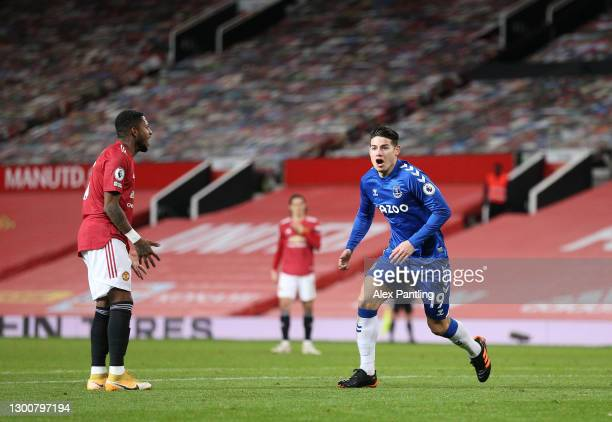 James Rodríguez of Everton celebrates after scoring their sides second goal during the Premier League match between Manchester United and Everton at...