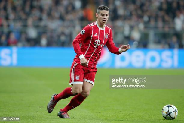 James Rodríguez of FC Bayern Muenchen runs with the ball during the UEFA Champions League Round of 16 Second Leg match Besiktas and Bayern Muenchen...