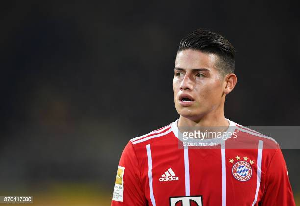 James Rodrguez of Muenchen looks on during the Bundesliga match between Borussia Dortmund and FC Bayern Muenchen at Signal Iduna Park on November 4...