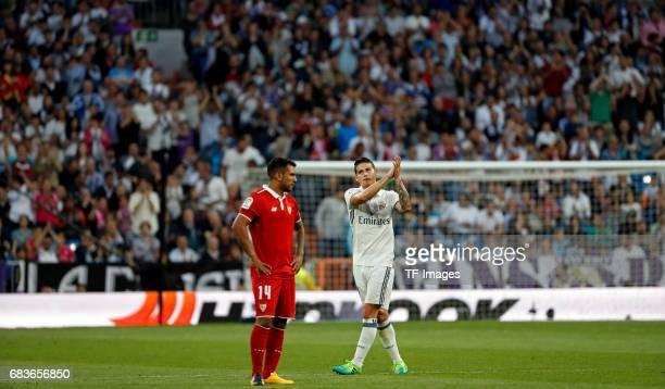 James Rodríguez of Real Madrid gestures during the La Liga match between Real Madrid CF and Sevilla CF at Estadio Santiago Bernabeu on May 14 2017 in...