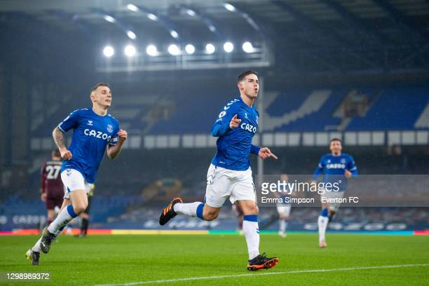 James Rodrigue of Everton celebrates scoring his team's first goal during the Premier League match between Everton and Leicester City at Goodison...