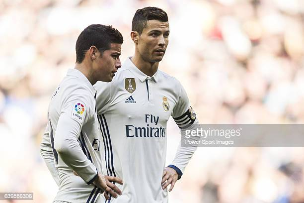 James Rodriguez and Cristiano Ronaldo of Real Madrid in action during their La Liga match between Real Madrid and Granada CF at the Santiago Bernabeu...