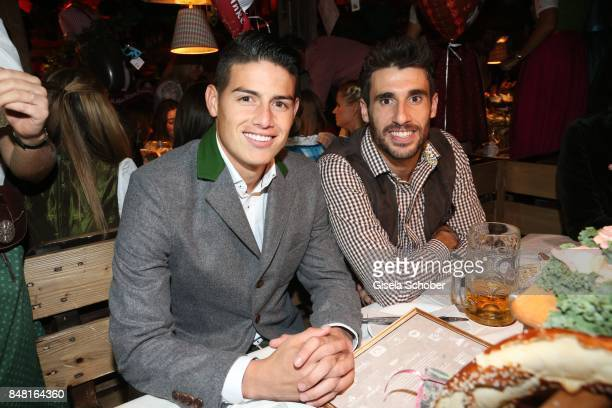 James Rodriguez and Javi Martinez FC Bayern soccer player during the opening of the Oktoberfest 2017 at Kaeferschaenke at Theresienwiese on September...