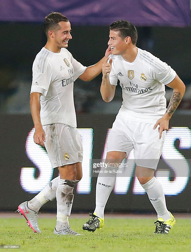 James Rodriguez (R) and Lucas Vazquez of Real Madrid C.F celebrate after scoring during the international Champions Cup China match between Real Madrid and Inter de Milan at the Tianhe Stadium on July 27, 2015 in Guangzhou, China.