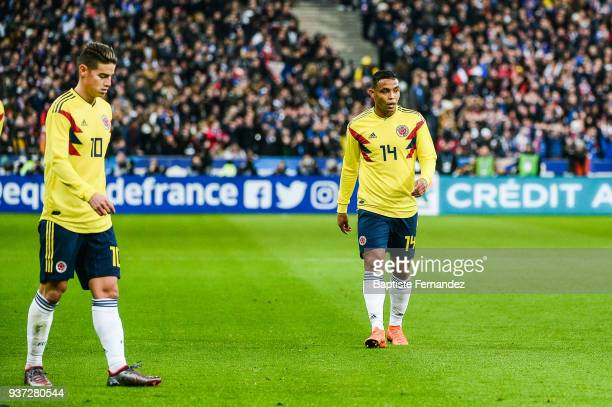 James Rodriguez and Luis Fernando Muriel of Colombia during the International friendly match between France and Colombia on March 23 2018 in Paris...
