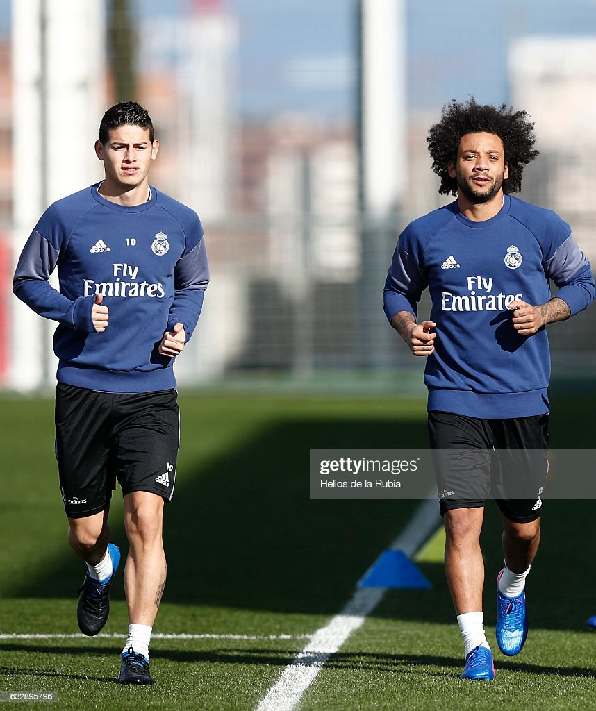 finest selection 96d85 af73b James Rodriguez and Marcelo of Real Madrid warm up during a ...