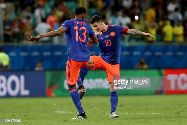James Rodriguez and Yerry Mina of Colombia celebrates after winning the Copa America Brazil 2019 group B match between Argentina and Colombia at...