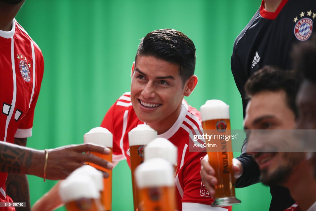 James Rodriguez attends the FC Bayern Muenchen Paulaner photo shoot in traditional Bavarian lederhosen on September 13, 2017 in Munich, Germany.