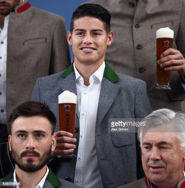 James Rodriguez attends the FC Bayern Muenchen Paulaner photo shoot in traditional Bavarian lederhosen on September 13 2017 in Munich Germany
