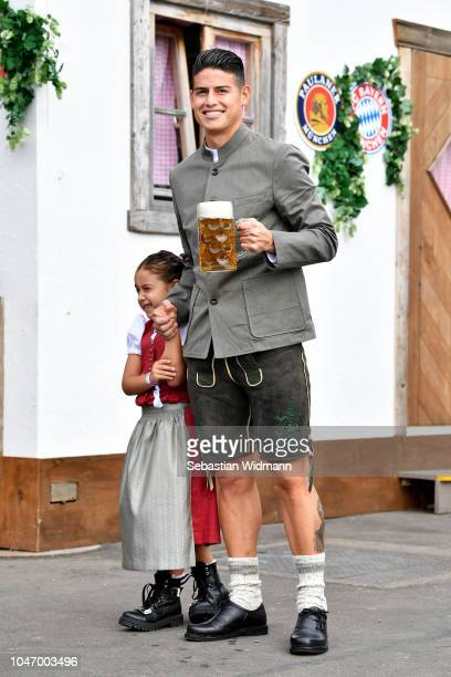 James Rodriguez attends the Oktoberfest beer festival at Kaefer Wiesenschaenke tent at Theresienwiese on October 7 2018 in Munich Germany