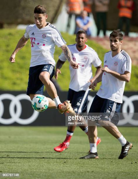 James Rodriguez controls the ball during a training session on day 2 of the FC Bayern Muenchen training camp at ASPIRE Academy for Sports Excellence...
