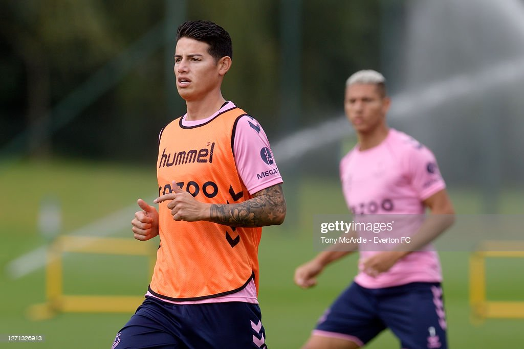 James Rodriguez and Allan take Part in Their First Training Session at Everton : News Photo