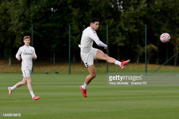 James Rodriguez during the Everton Training Session at USM Finch Farm on September 16 2021 in Halewood, England.