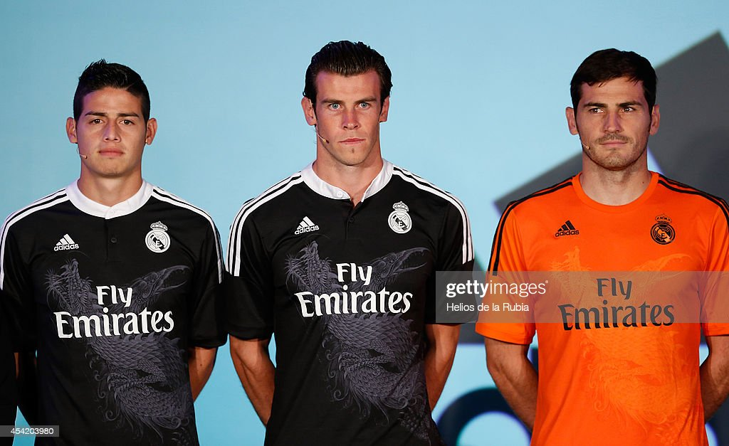 James Rodriguez, Gareth Bale and Iker Casillas of Real Madrid during the Adidas 3rd kit launch at Estadio Santiago Bernabeu on August 26, 2014 in Madrid, Spain.