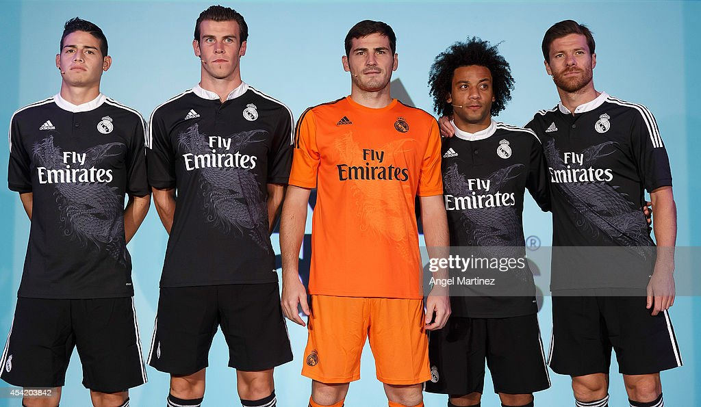 James Rodriguez, Gareth Bale, Iker Casillas, Marcelo Vieira and Xabi Alonso of Real Madrid during the Adidas 3rd kit launch at Estadio Santiago Bernabeu on August 26, 2014 in Madrid, Spain.